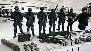 Weapons seized by the mexican 'Policia Federal...