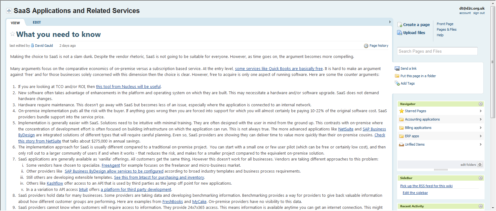 The SaaS applications wiki - open for business