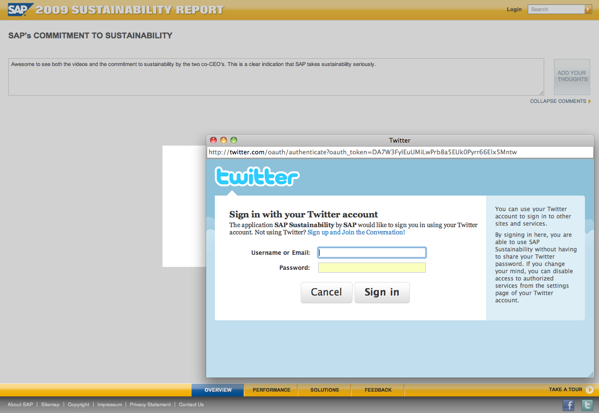 SAP's 2009 Sustainability Report using OAuth!
