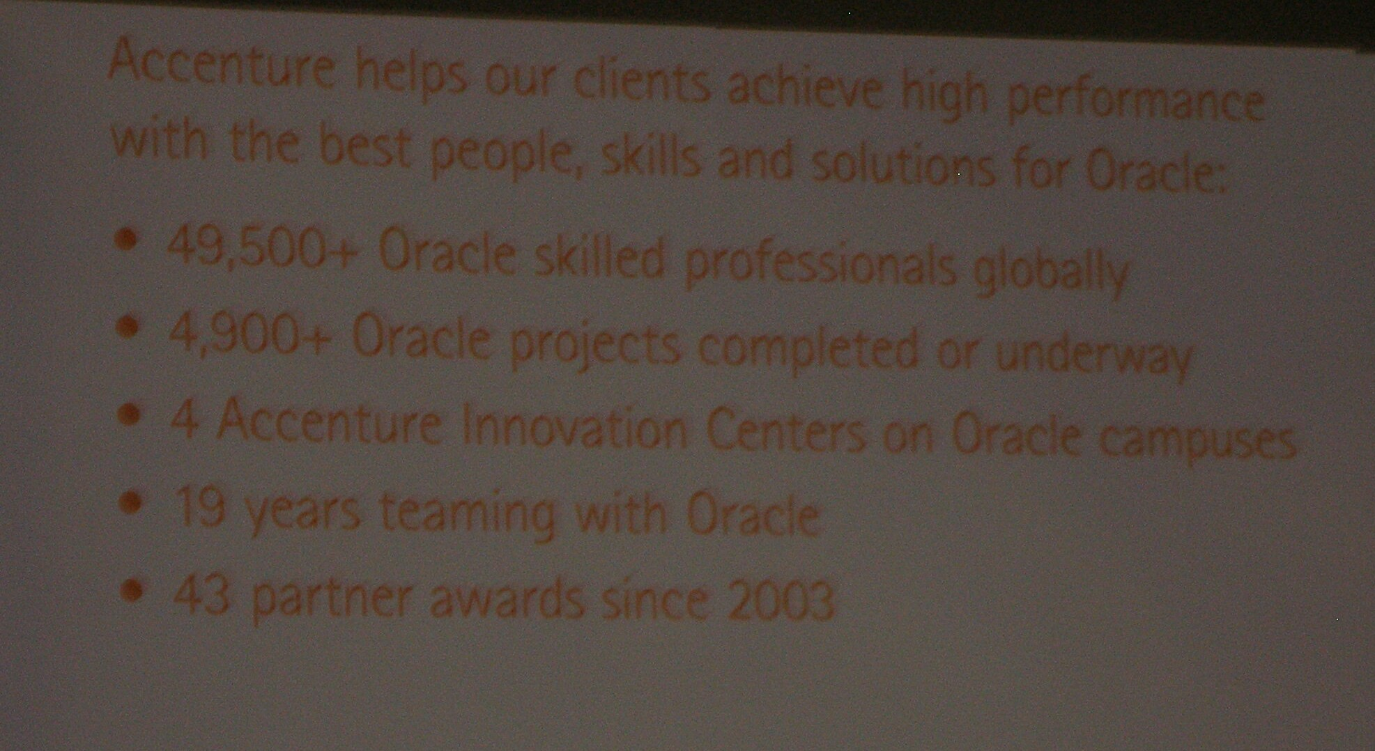 Accenture Oracle Stats