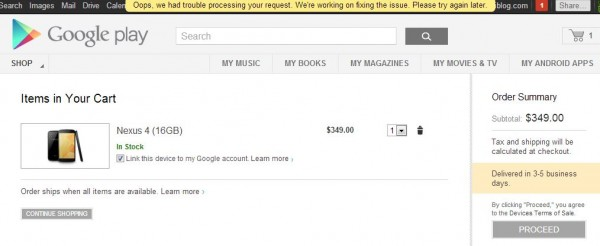 """Google Play Site Falls Apart on Nexus 4 Launch.  Now I Know Why it's Called """"Play"""""""