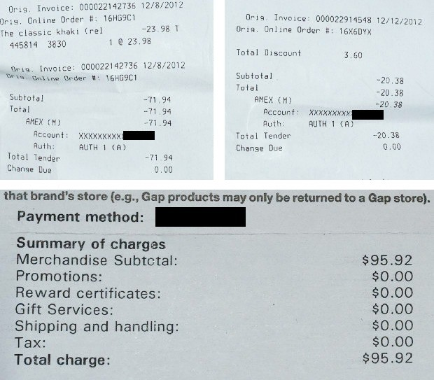 Invoice / refund discrepancy at the Gap