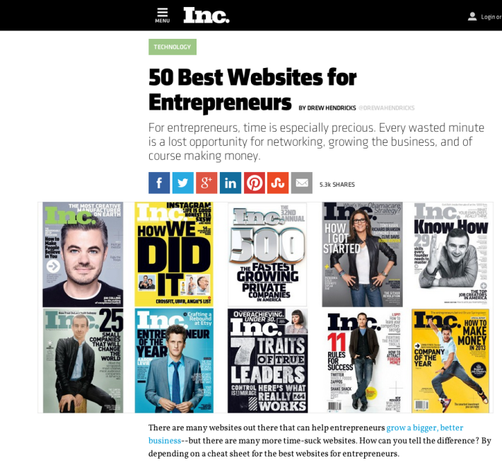 Inc's 50 Best Websites for Entrepreneurs.  SaaStr is #36.
