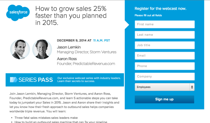 """Join Salesforce, SaaStr and Aaron Ross Next Tuesday For """"How To Grow 25% Faster in 2015″"""