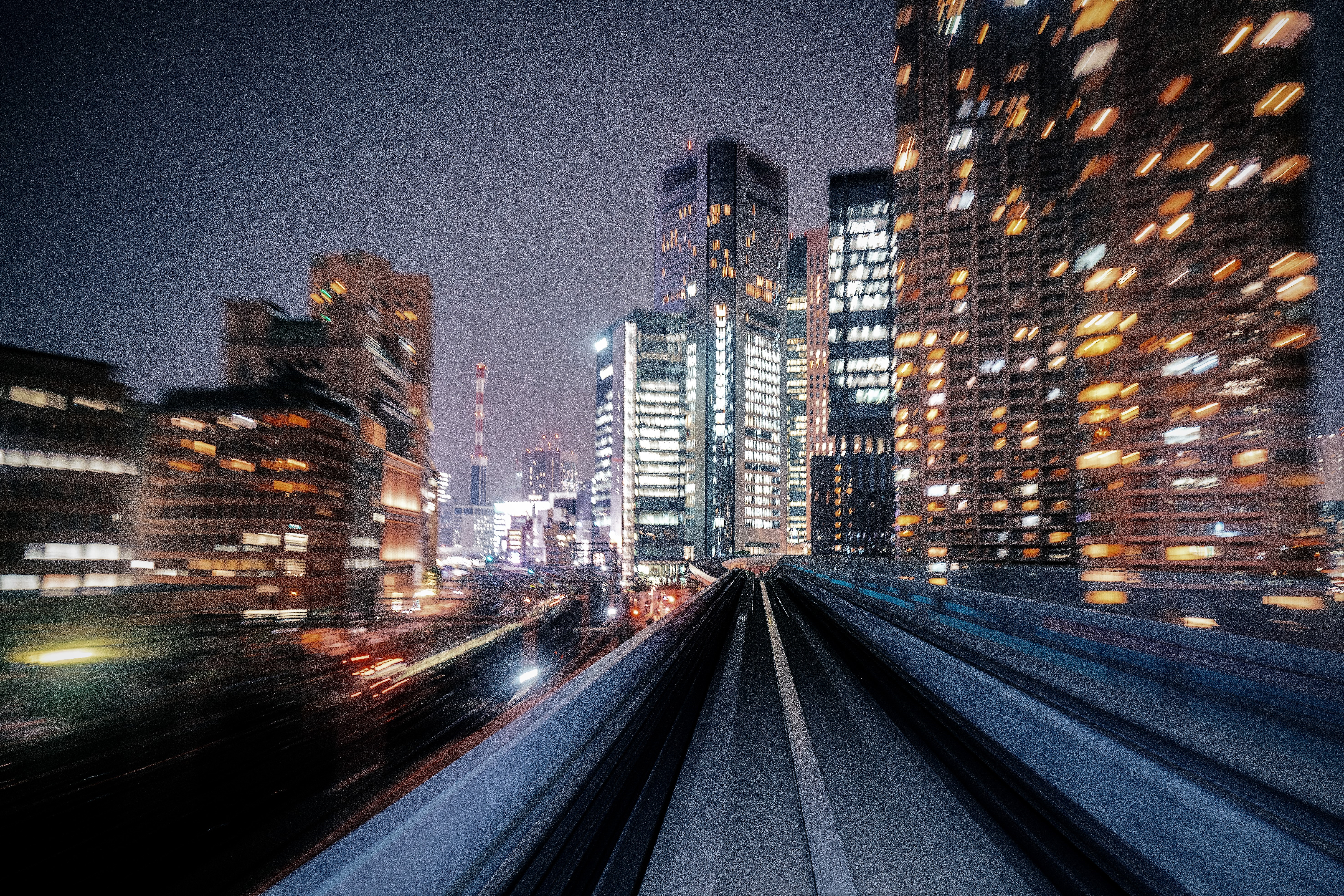 Motion blur of train moving to City